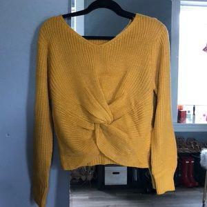 Sweaters - Twist front mustard yellow sweater